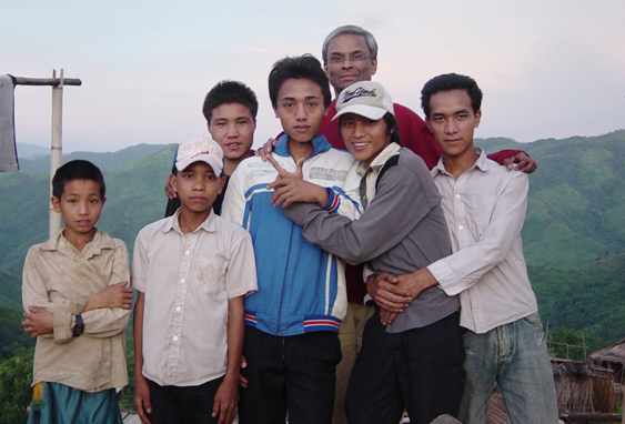 The author with Akha villagers. Photograph by David Fairhurst